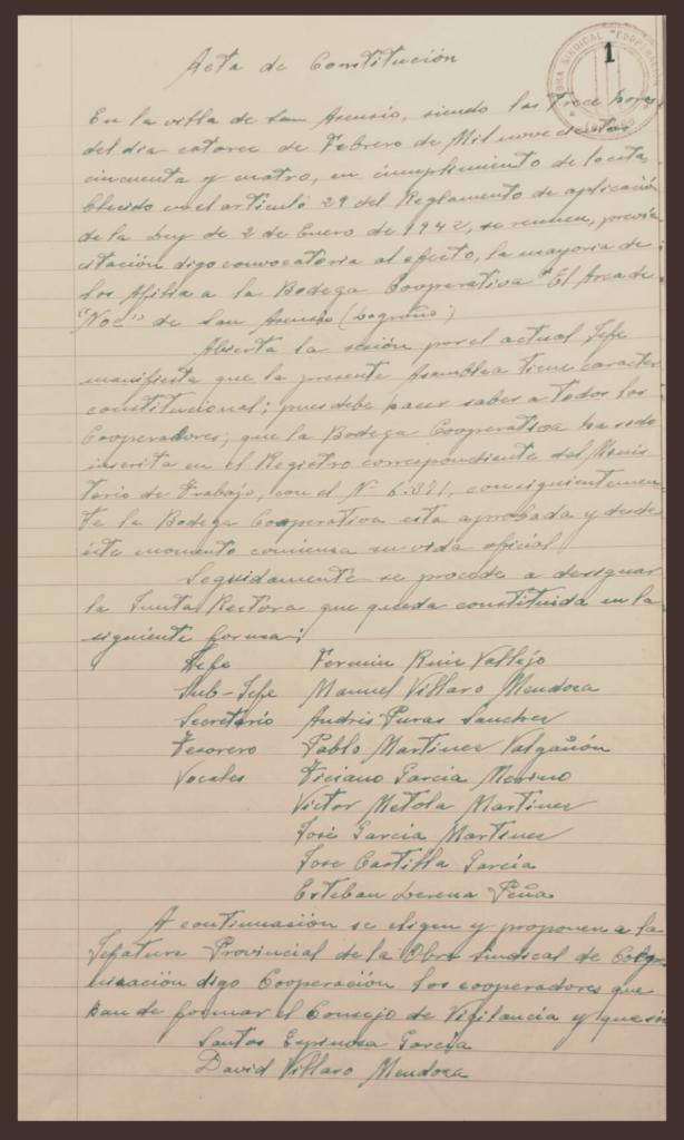 Acta de Constitución de la primera Junta de la Bodega Cooperativa El Arca de Noé